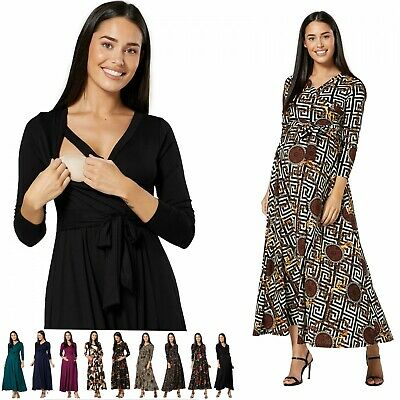 ZETA VILLE Womens Maternity Nursing Maxi Dress Long Sleeves V- Neck 1173