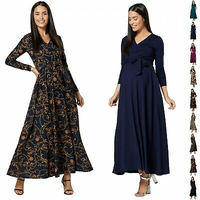 HAPPY MAMA Womens Maternity Nursing Maxi Dress Long Sleeves V- Neck 1173