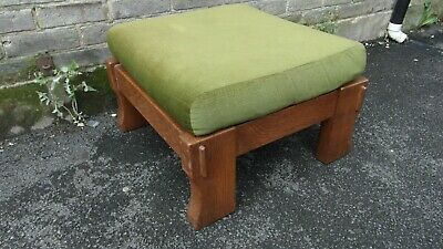 Retro 1970/80's Chunky Wood Footstool with Green Padded Seat