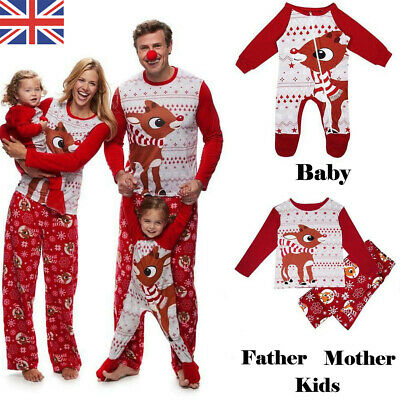 2019 Family Matching Adult Kids Christmas Pyjamas Nightwear Pajamas PJs Sets UK