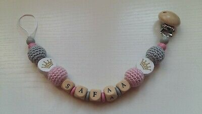 Any Name**Pink Personalised Wooden Dummy Clip with crown/Chain for Girls