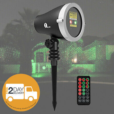 Outdoor Garden Landscape LED Laser Christmas Light Projector Waterproof w Remote