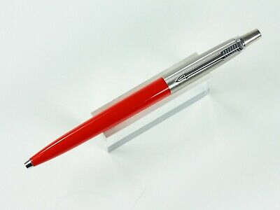 Parker Jotter Ballpoint Pen In Red And Stainless   Brass Threads