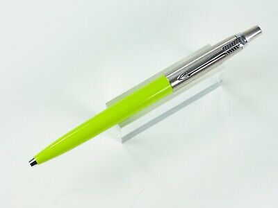 Parker Jotter Ballpoint Pen In Lime Green And Stainless Steel Brass Threads