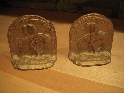 """Antique """"End of the Trail"""" Cast Iron Native American Bookends"""