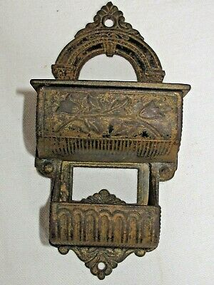 Antique Ornate Victorian Cast Iron Wall Match Holder Pat.1872