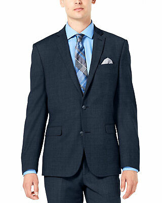 Bar III Mens Slim-Fit Stretch Flannel Suit Separate Jacket 36 Short Blue