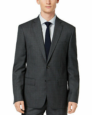 DKNY Mens Slim-Fit Plaid Wool Suit Separate Jacket 44 Short Grey/Blue