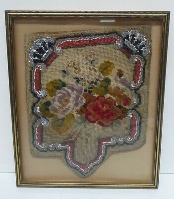 Antique Tapestry Bead Work Victorian Sampler Panel Framed
