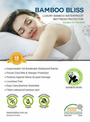 Luxury Fully Fitted Waterproof Bamboo Mattress Protector - King Single