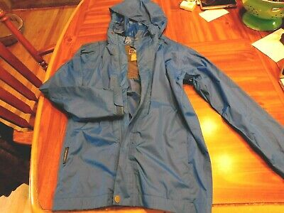White Sierra Blue Rain Jacket Coat Girls Youth Medium  Packable Hiking Travel