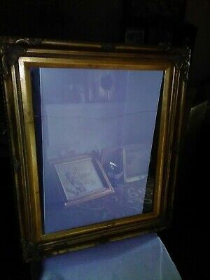 Vintage Large 21 x 25 Ornate Baroque Wood Picture Frame ~ Gold Paint