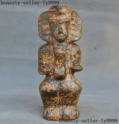 """8"""" Chinese HongShan Culture Old Jade Carving Egypt Queen Pharaoh statue"""