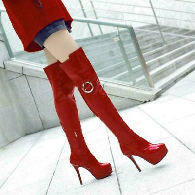 Women's High Heel Zip Platform Over Knee Boots Shoes Stiletto Heels Pumps Size 8