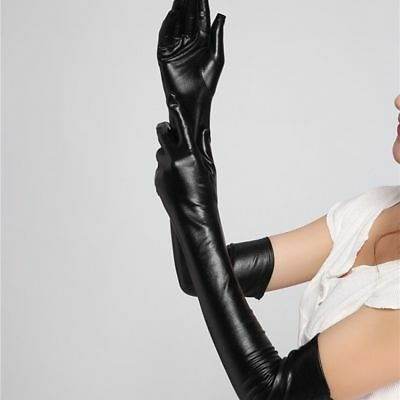 Adult Sexy Long Black Latex Leather Gloves Ladies Clubwear Sexy Catsuit Cosplay