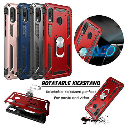 For Samsung Galaxy A20/A30 Shockproof Armor Metal Ring Stand Holder Case Cover