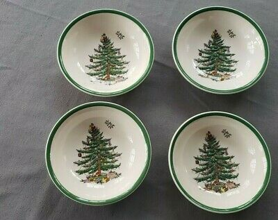 """(4) SPODE CHRISTMAS TREE  6 1/4"""" Coupe Cereal Bowls - ENGLAND  LOT OF 4"""