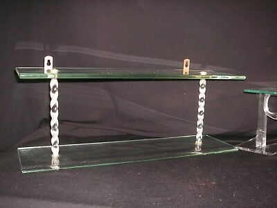 """VTG 1940s-1950s DOUBLE 18"""" GLASS & TWISTED LUCITE SHELVES HANGS /SITS FLAT SHELF"""