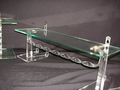 "VINTAGE 1940s-1950s 16"" GLASS & TWISTED LUCITE SHELF w/ TOWEL BAR"