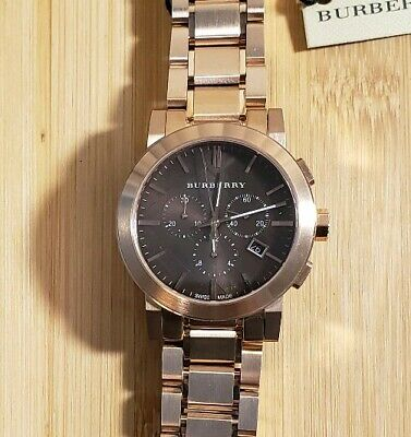 Burberry BU9353 Watch With 42mm Brownish  Tone Face & Rose Gold Breclet.