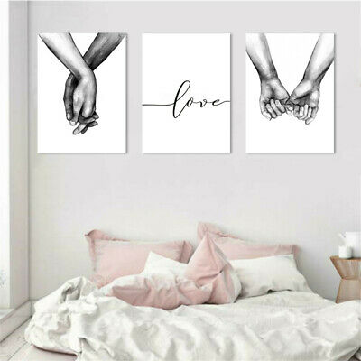 Holding Hand Black White Picture Canvas Prints Painting Love Wall Home Bedroom