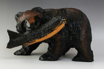 """Japanese Wood Bear With Salmon Statue Hand Carving Ainu Craft 11"""" Wide #25396"""