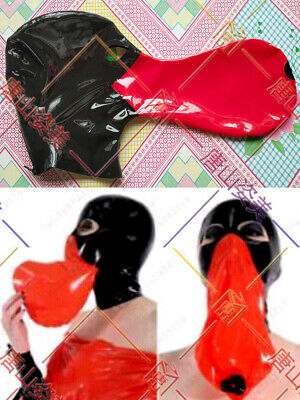 432 Latex Mask Black& Red Latex Hood With Long Breath Bag Customized