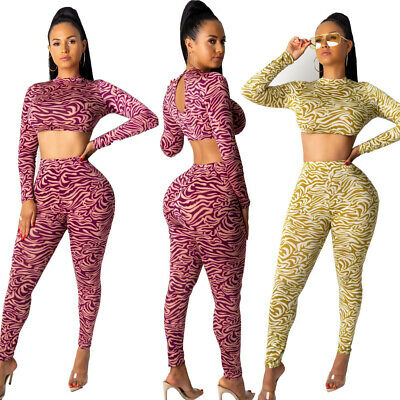 Women Long Sleeves Print Bodycon Club Party Casual Slim Jumpsuit Pants Set 2pc