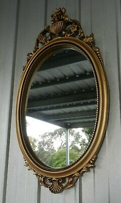 Vintage Wall Oval Mirror Gold Gilt Ornate Frame (b)