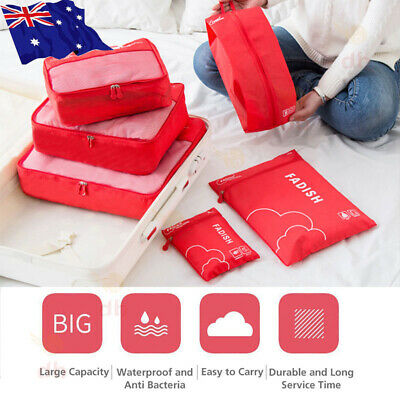 7 Packing Cubes Pouch Luggage Storage Travel Suitcase Clothes Organiser Shoe Bag