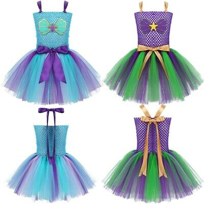 Kids Girls Scallop Mesh Tutu Dress Mermaid Cosplay Princess Costume Party Outfit