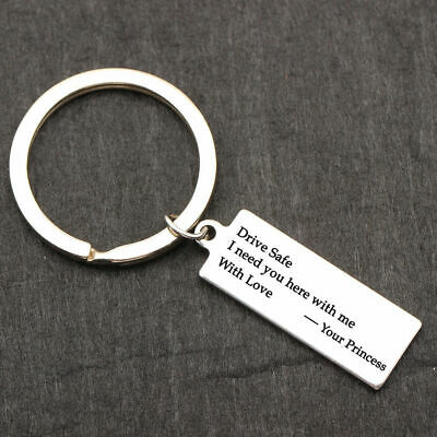 """""""Drive Safe I Need You"""" Stamped Keychain Keyring Gift For Wife Boyfriend Husband"""