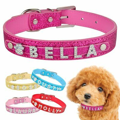 Bling Leather Dog Collar Personalised Puppy Pet Cat Name Rhinestone Charms XS S