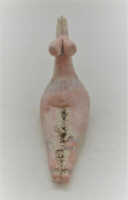 Scarce Circa 6000Bc Ancient Tel Halaf Seated Terracotta Fertility Figure