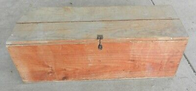 Wooden Chest Tool Box with Hinged Lid Large Lockable Rustic