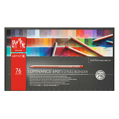Caran D`ache Luminance 6901 Colour Pencils Box Set of 76 with 2 Full Blenders