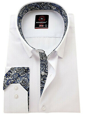 RICHBERRY Men's White cotton Shirt contrast collar Formal Casual Long sleeve