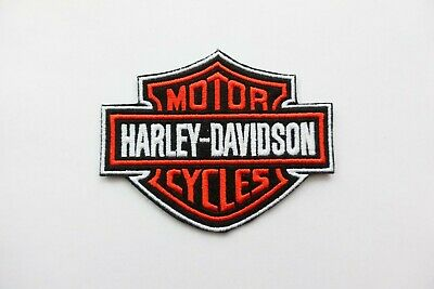 Harley Davidson Classic Orange Logo Sew-on Patch (Small)  embroidery white outli