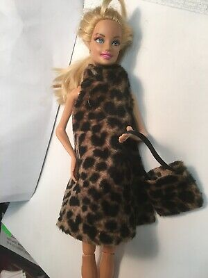 Homemade vintage style Leopard Print easy on Barbie doll Dress clothes