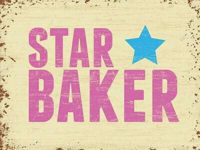 Vintage Metal Sign Plaque Star Baker Kitchen Home Bakery Wall Advert Decor