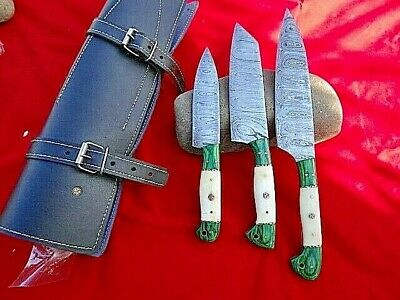 3 x Handmade Damascus Steel Kitchen Chef Knife & Hunting in LEATHER ROLL