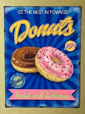 Vintage Metal Sign Plaque Sweet & Delicious Donuts Kitchen Home Bakery Decor