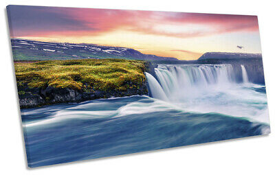The Godafoss Northern Lights Print SINGLE CANVAS WALL ART Picture Green