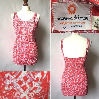 Vintage 1950s Marina Del Mar Swimming Bathing Costume Swimsuit Size S/M Pin Up