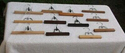 12 WOODEN HANGARS PANTS SKIRTS SLACKS TROUSERS with CLAMPS