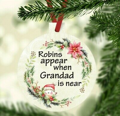 Personalised robins are near when loved ones are near Christmas tree bauble