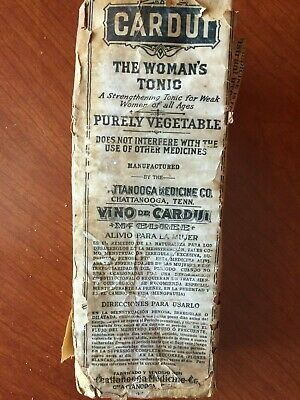 Antique Remedy Bottle Cardui, The Woman's Tonic Chattanooga Medicinew BOX