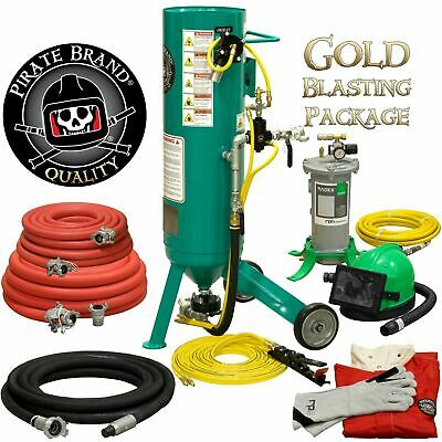 Clemco Style Sandblaster 1 Cuft Sand Pot Complete Gold Blasting Package