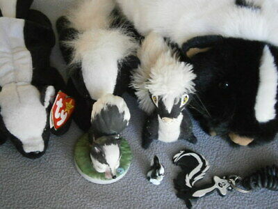 7pc Skunk Collection L Rankin plush, Ty beany, ceramics, & Pepe Le Pew key chain