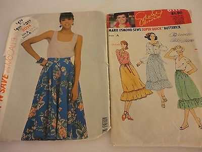 Lot of 2 Vintage McCalls Butterick Skirt and Tank top Patterns from 1980s